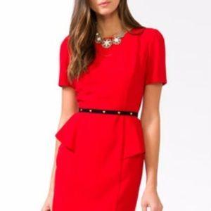 J Crew Petite Peplum Red Dress